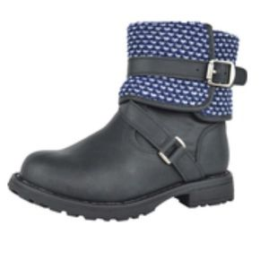 Kids Lace Up Boots Knitted Detailing Warm Black
